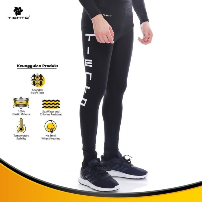 Foto Produk Tiento Manset Rashguard Compression Long Pants Typotype Black Original dari TIENTO