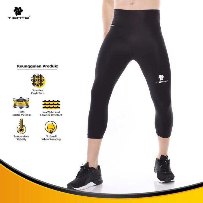 Foto Produk Tiento Baselayer Celana Ketat Legging Leging 3/4 Pants Black White Ori dari TIENTO