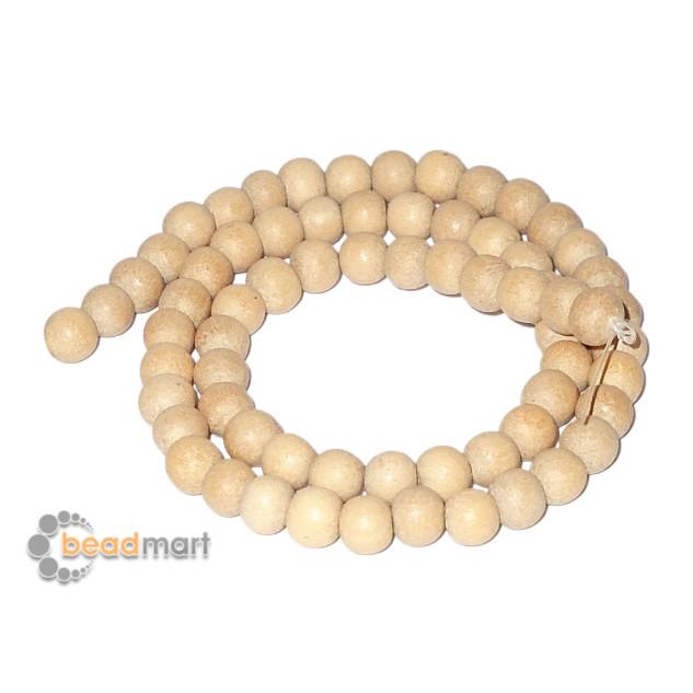 Foto Produk Manik Kayu Natural Bentuk Bulat 5-6mm, 1 Renteng, Bahan Aksesoris - White Wood Wax dari Beadmart