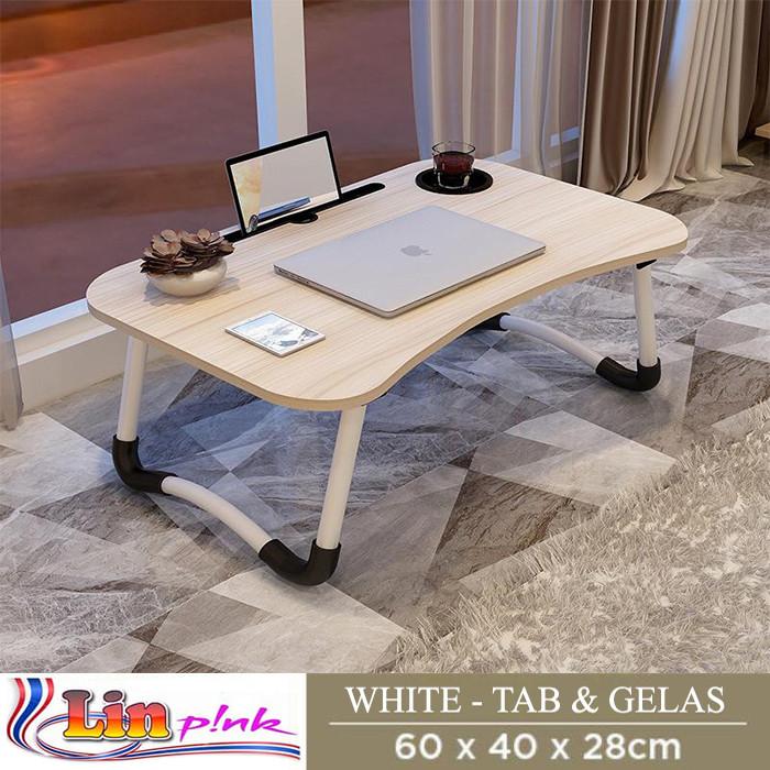 Foto Produk Meja Lipat Belajar Laptop Serbaguna / Meja laptop / Meja Belajar - Putih dari Lin-Pink Online Shop