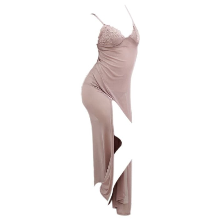 Foto Produk L0216 - Lingerie Long Gown Abu-Abu Transparan dari PlazaKota dot com