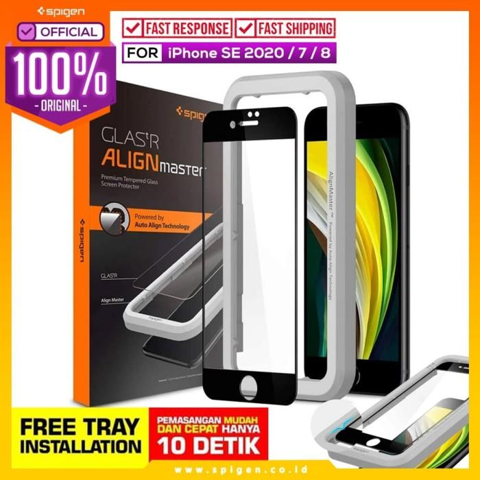 Foto Produk Tempered Glass iPhone SE 2020 / 8 / 7 Spigen AlignMaster Full Cover dari Spigen Official
