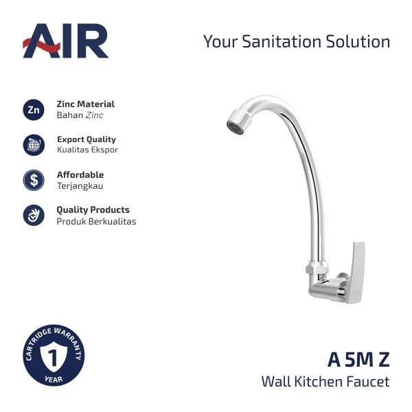 Foto Produk AIR Kran Dapur - Keran Angsa / Kitchen Faucet - Wall Mounted A 5M Z dari AER Sanitary Indonesia