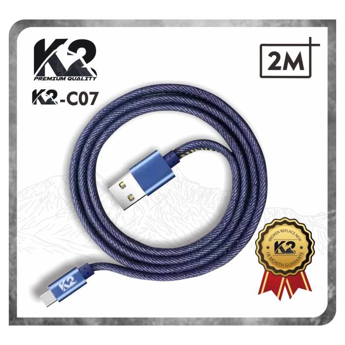 Foto Produk Kabel Data DENIM 2M K2-C07 K2 PREMIUM QUALITY TYPE C Fast Charging dari K2 Official Store