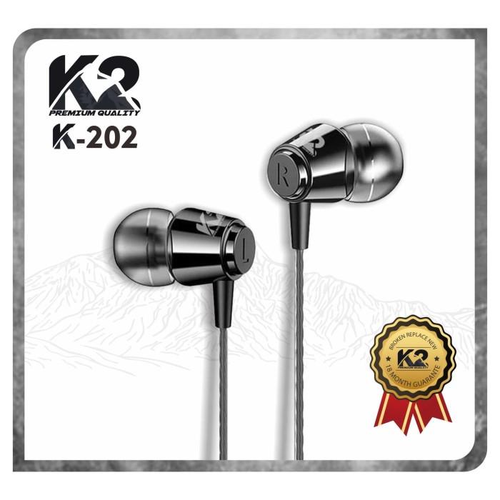 Foto Produk Headset / Handsfree K2 Premium Quality K-202 Stereo GARANSI 18 BULAN - Hitam dari K2 Official Store