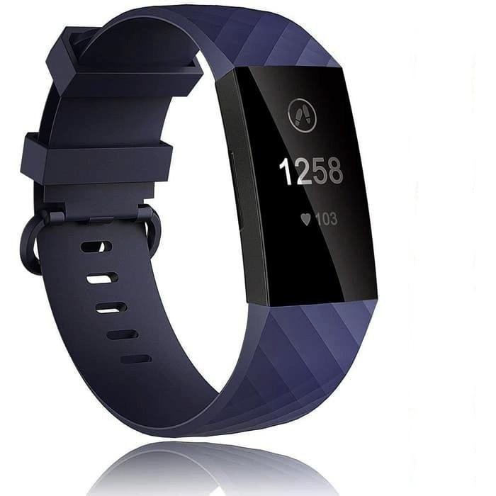 Foto Produk Tali Jam Sport Silicone Strap Band Diamond Pattern Fitbit Charge 3 Abu - Biru dari gudanggadget14