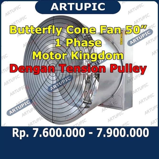 Foto Produk Butterfly Cone Fan 50 Inch 1 Phase Motor Kingdom Kipas Kandang Ayam dari ArtupicPeralatanPeternak