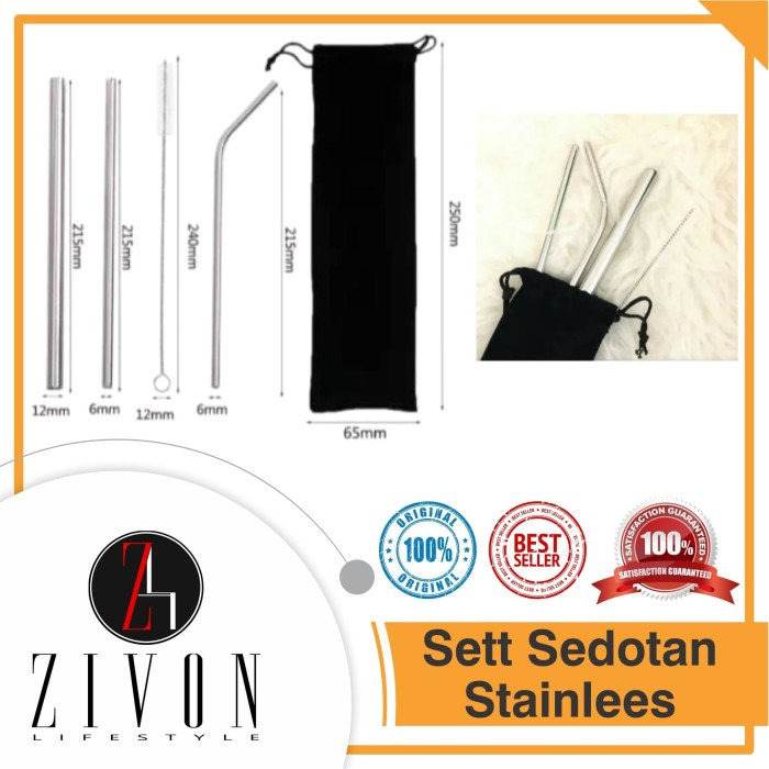Foto Produk Sedotan Stainless Steel Set 5in1 Stainless Straw Pouch dari ZIVON HOME DECOR