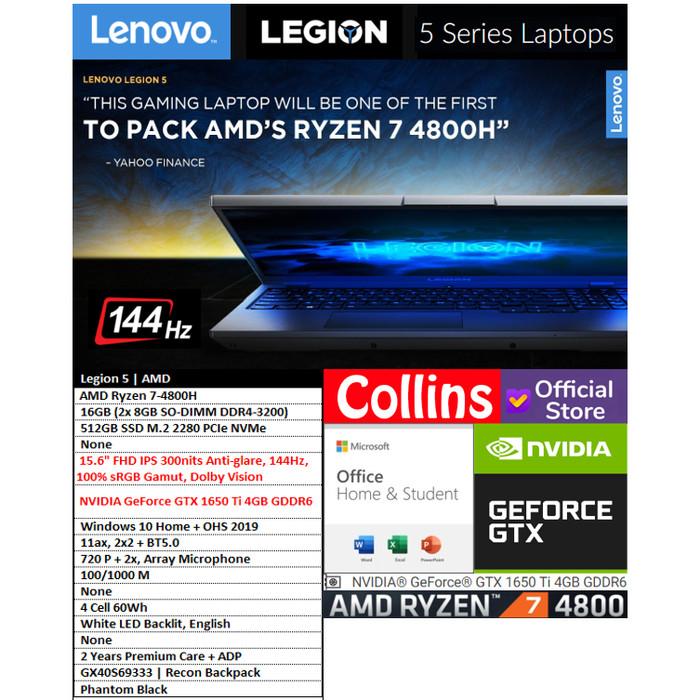 "Foto Produk LENOVO LEGION 5-RYZEN 7-4800H 16GB 512GB GTX1650Ti 4GB 15.6"" 144Hz W10 dari Collins Official"
