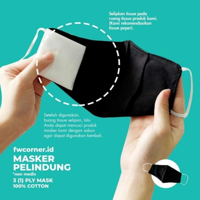 Foto Produk MASKER KAIN 3 LAPIS (3 PLY) - HITAM POLOS KOREA - 100% KATUN (COTTON) dari Fwcorner.id