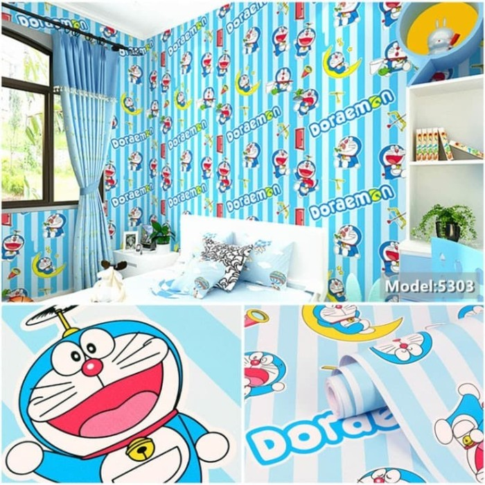 Jual Wallpaper Dinding Doraemon Garis Biru Wall Sticker Rumah Kamar Anak Kab Tangerang Pasar Etnik Citra Raya Tokopedia
