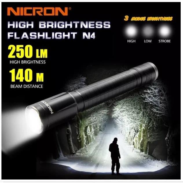 Foto Produk NICRON N4 OUTDOOR WATERPROOF FLASHLIGHT SENTER Level IPX4 dari DO OFFICIAL STORE