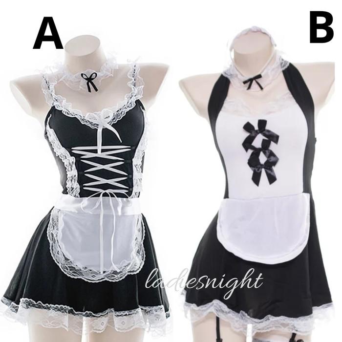 Foto Produk Black-White Ichika Maid Sexy Lingerie Costume (Pelayan) -Bandana +Acc - Model B dari Ladies Night