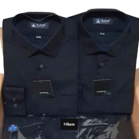 Foto Produk ALISAN Kemeja Pria Polos SLIM FIT Lengan panjang// Aneka Warna// Hitam dari paloma.go_shop