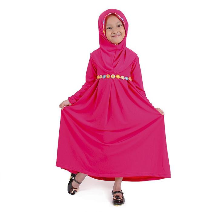 Foto Produk Bajuyuli Gamis Anak Perempuan Kombinasi Renda Bunga Cantik - S* Series - XS, PINK FANTA dari Bajuyuli