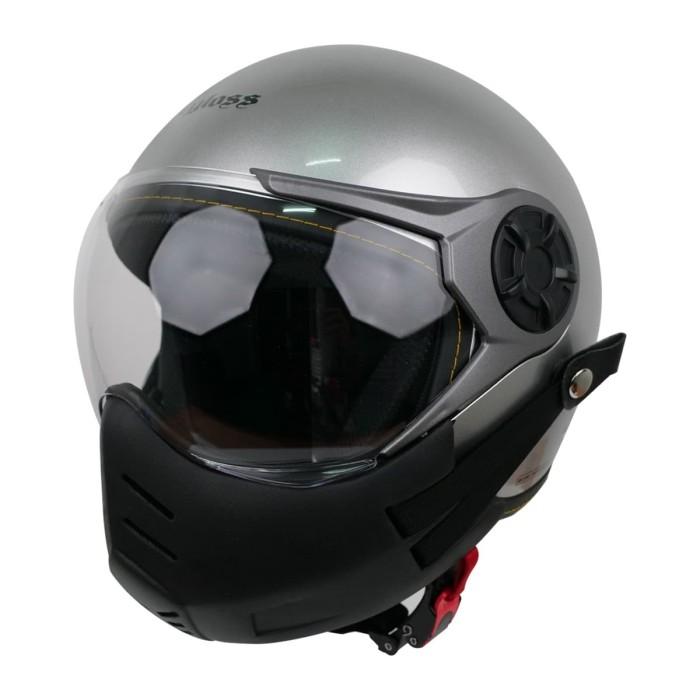 Foto Produk Paket Helm Cargloss YRM Visor Hardcoat Half Face - Silver Met + Masker - L dari Helm Cargloss