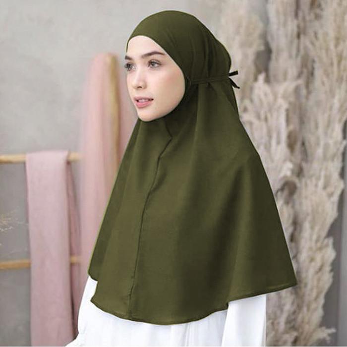 Jual Jilbab Bergo Maryam Pakai Tali Belakang Bahan Diamond Georgatte Hijau Army All Size Kab Sleman Hijab Go Tokopedia