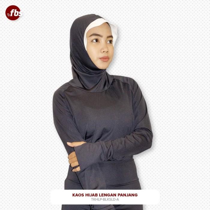 Foto Produk FBS Kaos Hijab Sport Lengan Panjang Terusan Jempol Hitam Jilbab Manset dari FBS - Flower Body Sports