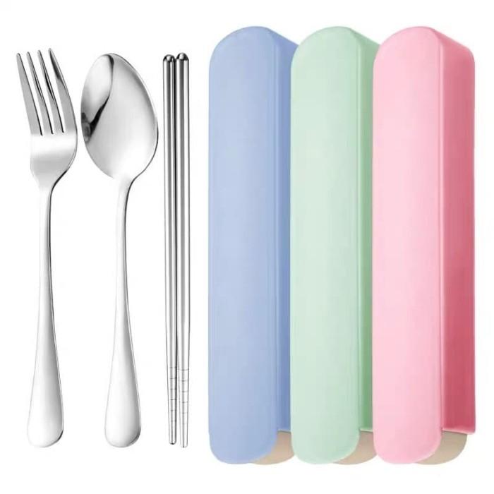 Foto Produk Sendok Garpu Sumpit set Stainless Steel Tebal Food Grade BOX - Merah Muda dari MTEshop