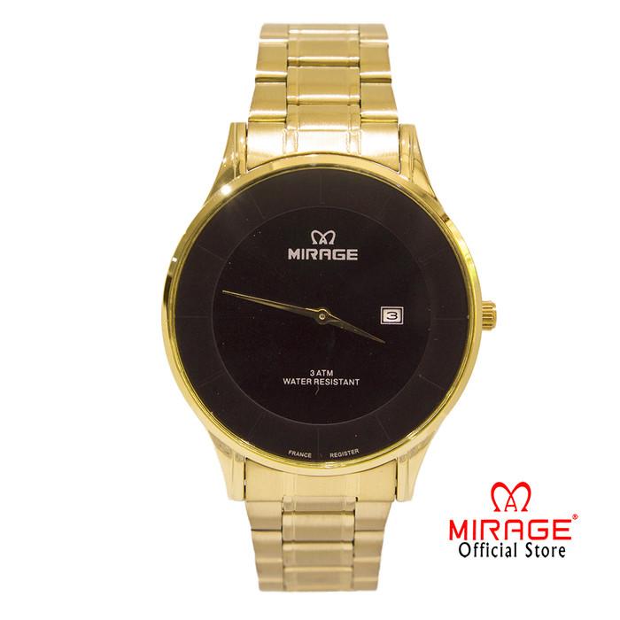 Foto Produk Terbaru Jam Tangan Mirage Pria Original Gold Emas 8670L Tipis Official - Hitam dari Mirage Watch