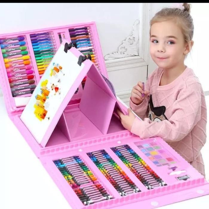 Foto Produk Mainan Edukasi Anak Set Melukis lengkap Spidol+crayon n papan 208pcs - Biru dari AUTO KID II