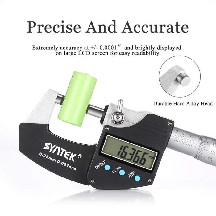 Foto Produk Micrometer Digital 0.001mm Syntek 0-25mm Micro Meter 0.001 mm Mikro dari HRDIK