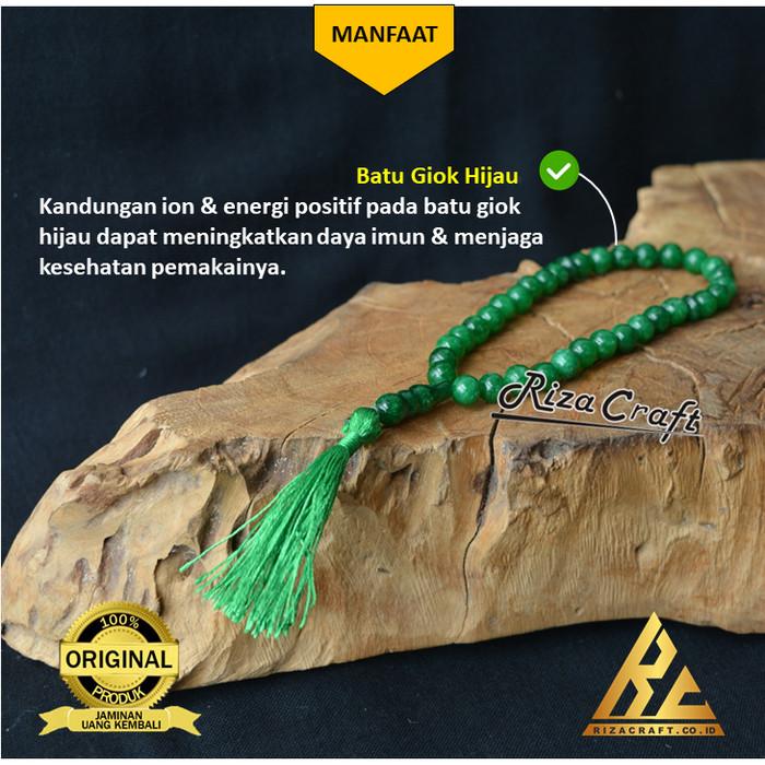 Foto Produk Tasbih 33 Beads Biji Butir Batu Giok Hijau ASLI Akik Alam Natural dari Riza Craft