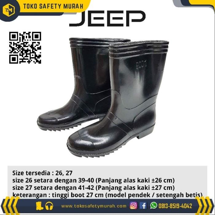 Jual Sepatu Boot Jeep Karet Hitam Pendek Boots Kerja Proyek Anti