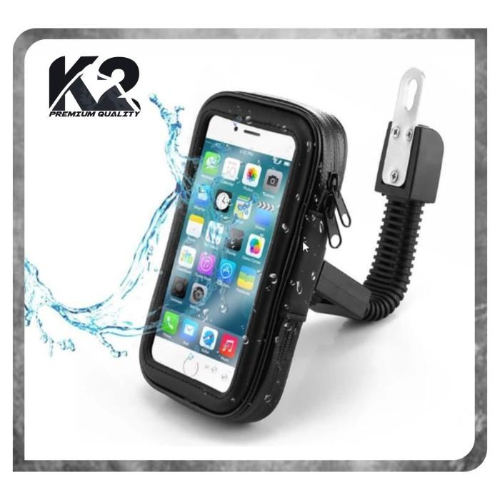Foto Produk Holder Motor Waterproof SPION Ukuran Hp Sampai 6.3 Inch Gojek Grab dari K2 Official Store