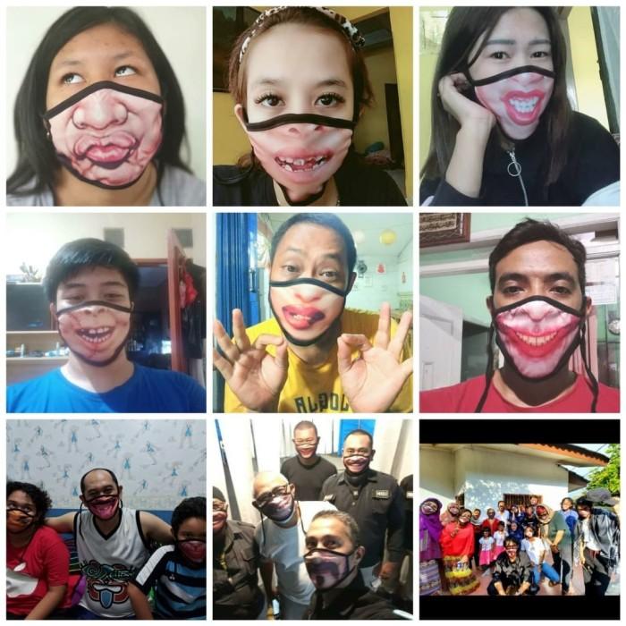 Foto Produk masker kain 3D unik dan lucu dari polosan depok
