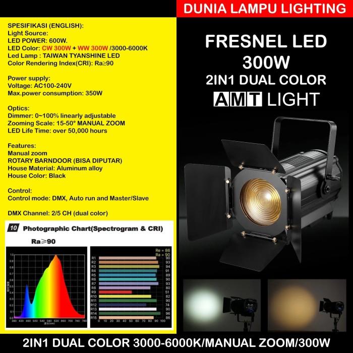 Foto Produk Fresnel LED 300W 2in1 CW+WW 3000-6000K Manual Zoom Lampu Sorot Studio dari DUNIA LAMPU LIGHTING