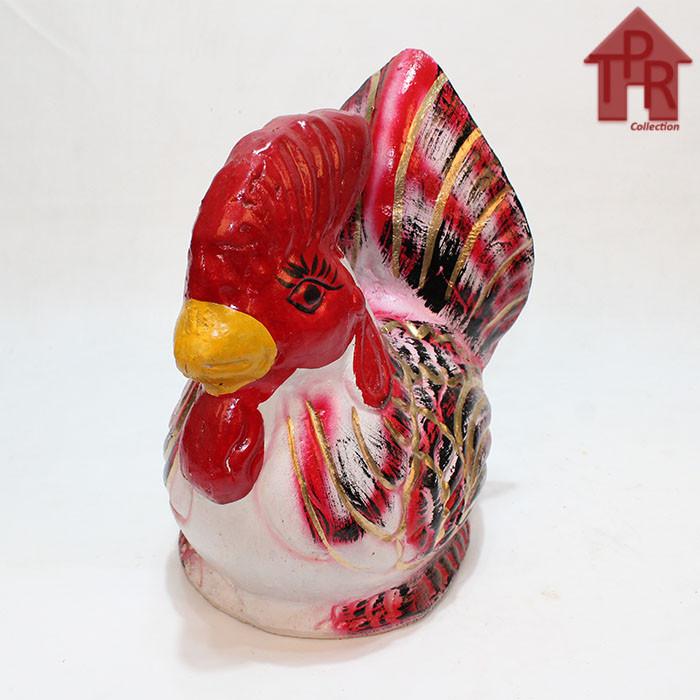Foto Produk Celengan ayam jago tradisional - S - Merah gold dari Toko Pernik Rumah