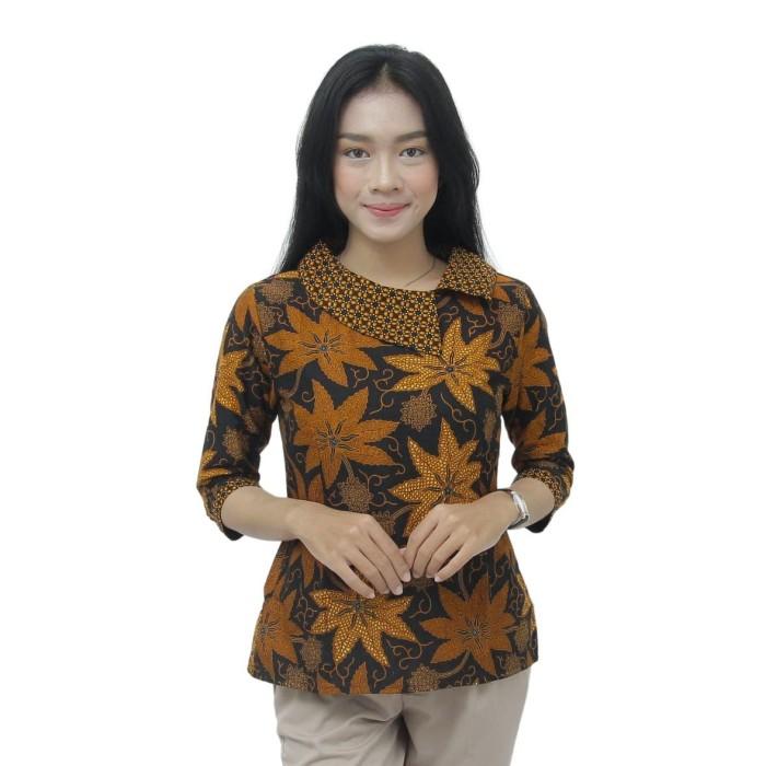 Foto Produk Batik Wanita Atasan Blouse Modern Model Kerah Besar Batik Kerja Wanita - S dari BATIK DUA PUTRI