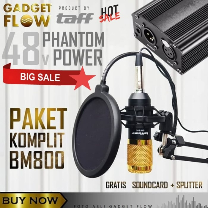 Foto Produk (PAKET KOMPLIT) Mic Microphone BM800 + Phantom Power HOME RECORDING - Gold dari Gadget Flow