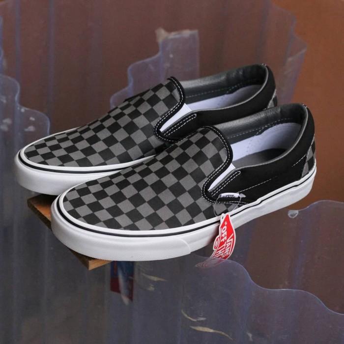 vans slip on pewter checkerboard