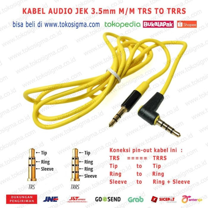 Foto Produk KABEL AUX AUDIO 3.5mm M-M 120cm IETOP TRRS garis 3 to TRS garis 2 GOLD dari tokosigma