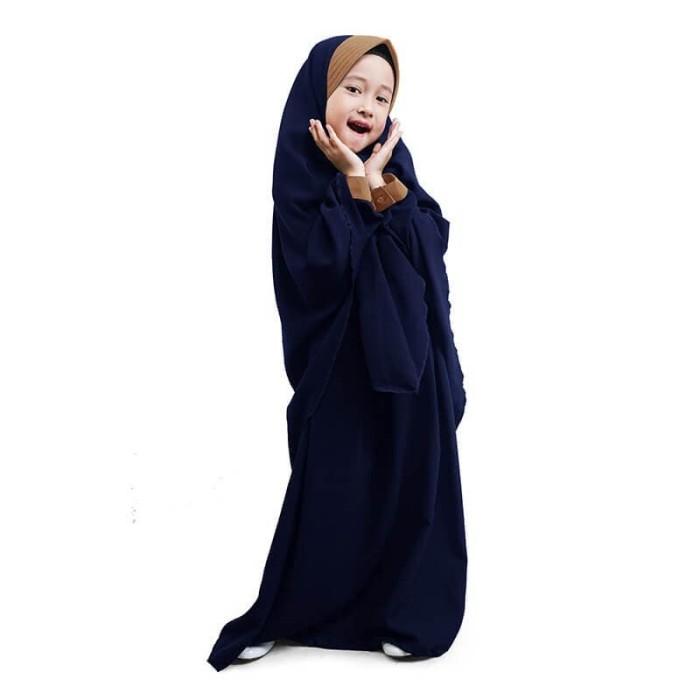 Foto Produk Bajuyuli - Gamis Anak Syari Set Polos Kombinasi Navy Milo WSNV02 - M dari Bajuyuli