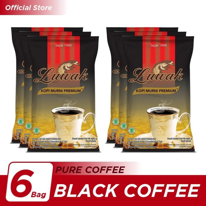 Foto Produk Kopi Luwak Murni Black Coffee Bag 165gr - 6 Pcs dari Kopi Luwak Official