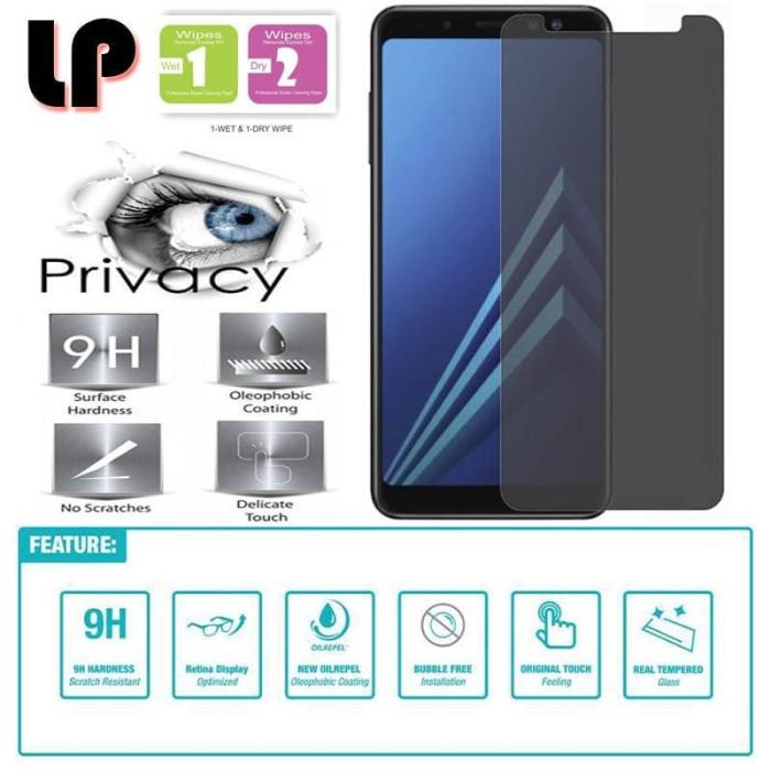 Foto Produk LP Anti-Spy Tempered Glass Samsung Galaxy A8 Plus (2018) - Privacy dari Logay Accessories