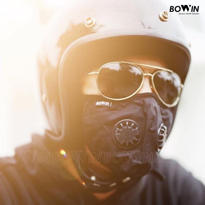 Foto Produk Bowin Masker Motor - Dual Filter Karbon N99 CV (Masker Anti Polusi) - Solid Black dari Bowin Indonesia