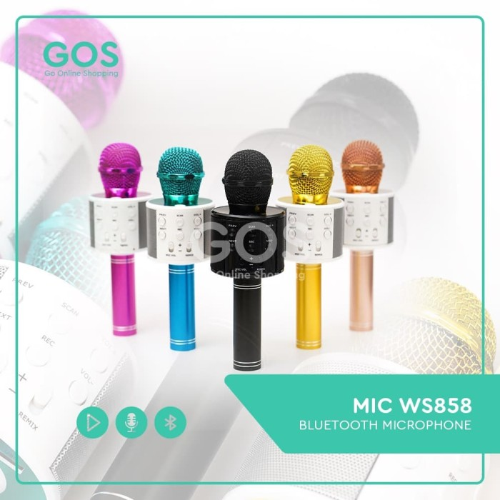 Foto Produk Mic Karaoke Mikrofon Wireless Bluetooth WSTER WS 858 WS-858 Mic Smule dari GOS Aksesoris HP