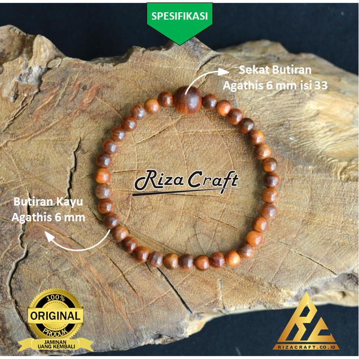 Foto Produk Gelang Tasbih 33 Butir Kayu Raja Gaharu Merah Agathis Agatis ASLI dari Riza Craft