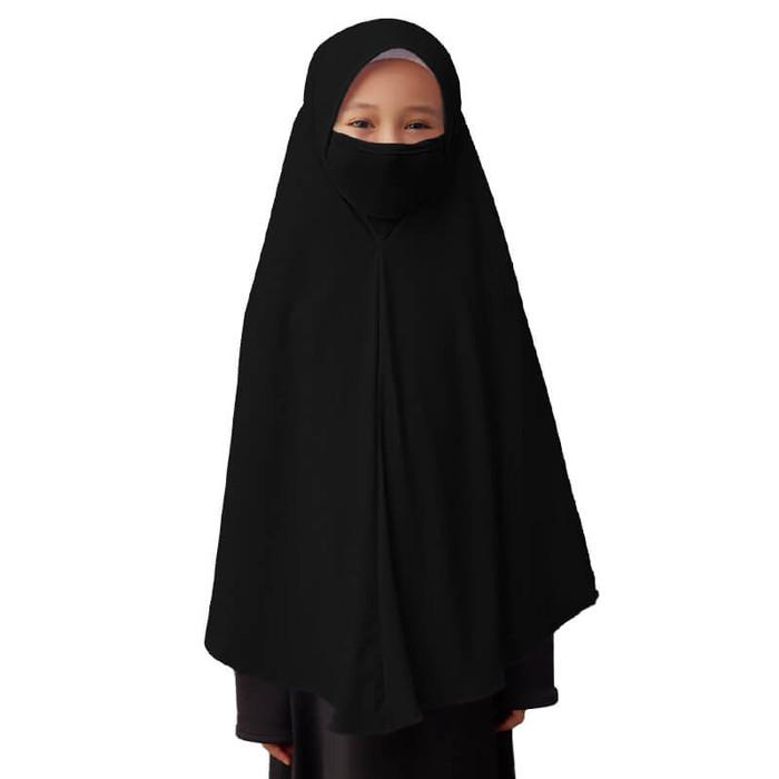 Foto Produk Bajuyuli - Jilbab Masker Anak Perempuan Sekolah Polos Basic - Hitam, SYARI BIG dari Bajuyuli