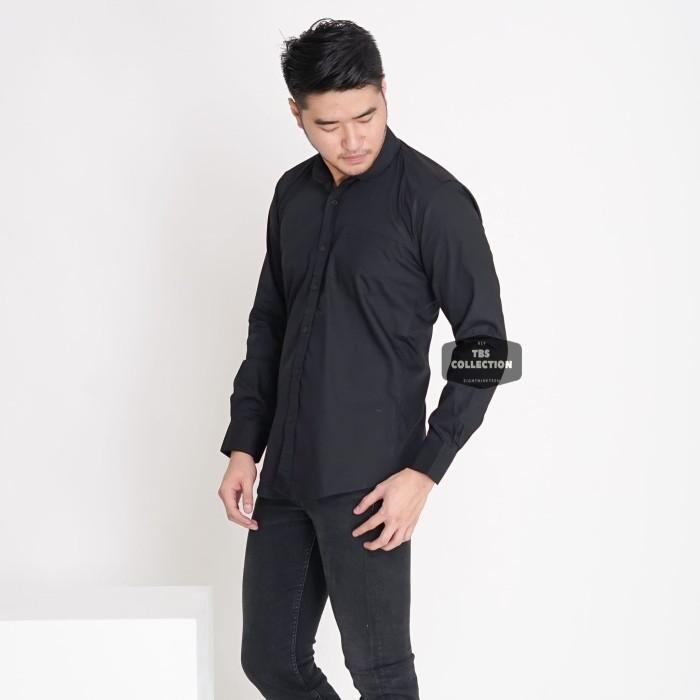 Foto Produk Kemeja Panjang Pria Cowok Slimfit Hitam Polos Formal Casual - Hitam, XL dari TBS Shop