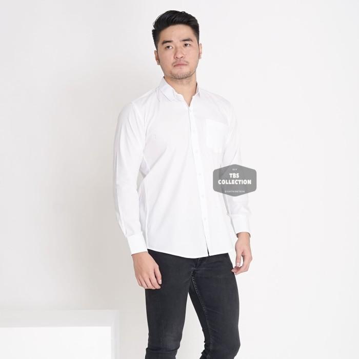 Foto Produk Kemeja Lengan Panjang Putih Polos White Pria Cowok Casual Slimfit 3296 - Putih, L dari TBS Shop