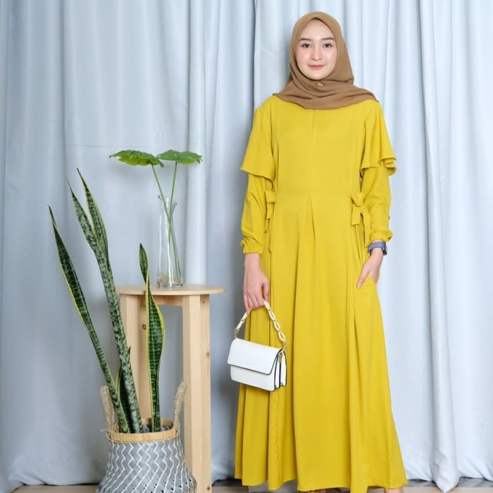 Foto Produk FASHION WANITA GAMIS RAUDA SIMPLY DRESS - Mustard dari neimadiba