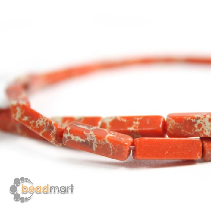Foto Produk Manik Batu Alam Jasper Orange Bentuk Balok, 1 Renteng, Bahan Aksesoris dari Beadmart