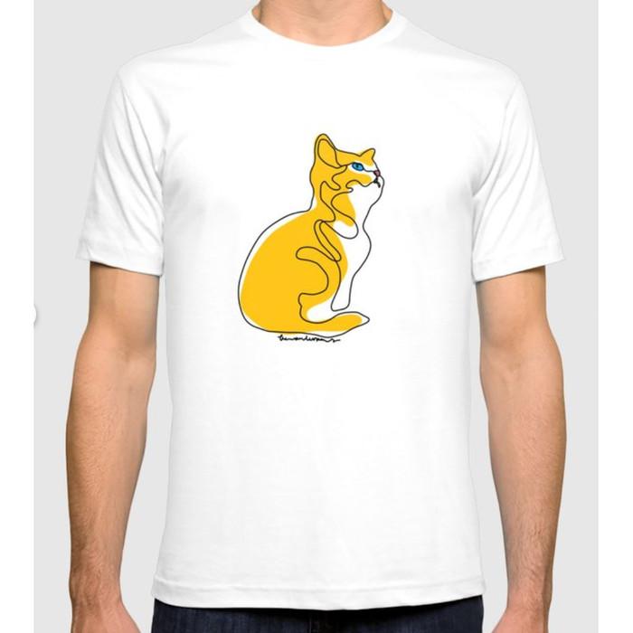 Foto Produk Kucing Oren di Kaos Putih - S dari Wanderer Company