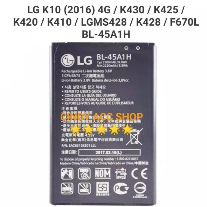 Foto Produk Baterai Batre LG K10 (2016) 4G BL-45A1H K420 F670 Original Battery dari Cindy acc shop