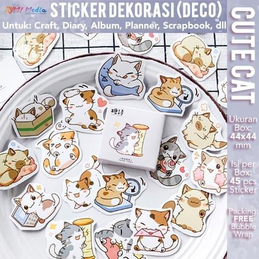 Foto Produk Sticker Deco CUTE CAT DIY Diary Craft Scrapbook Stiker Label Dekorasi dari RYM! Family